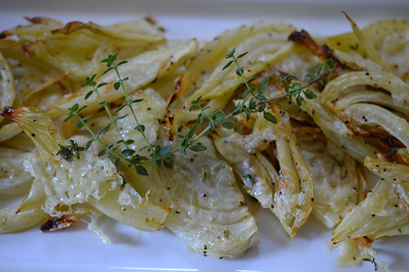 » Roasted Fennel with Asiago and Thyme Shredded Sprout