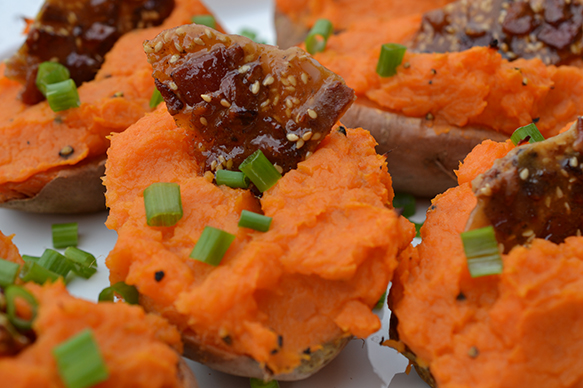 Twice Baked Sweet Potato With Bacon Brittle Shredded Sprout
