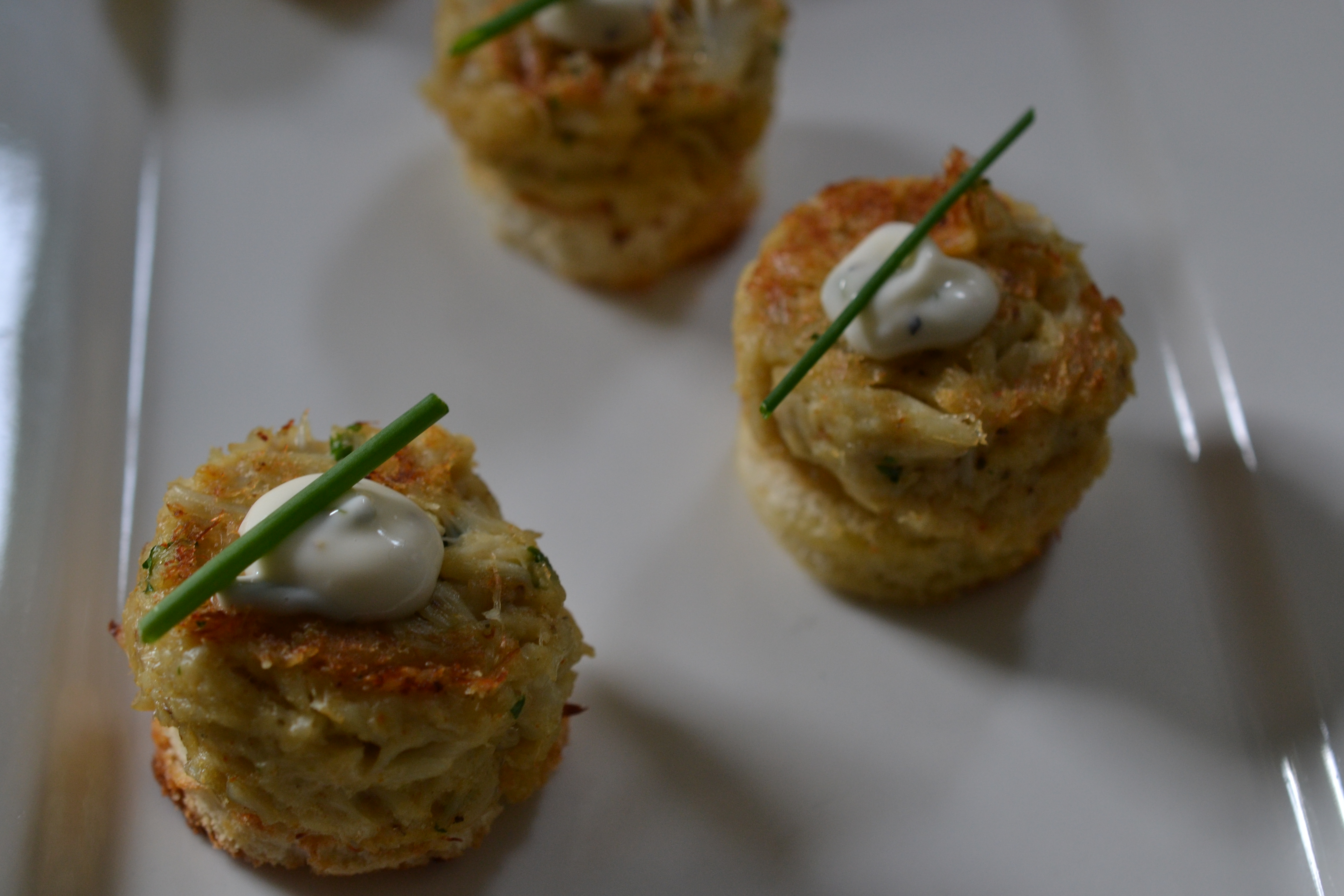 Maryland Crab Cakes with Lemon Aioli Shredded Sprout