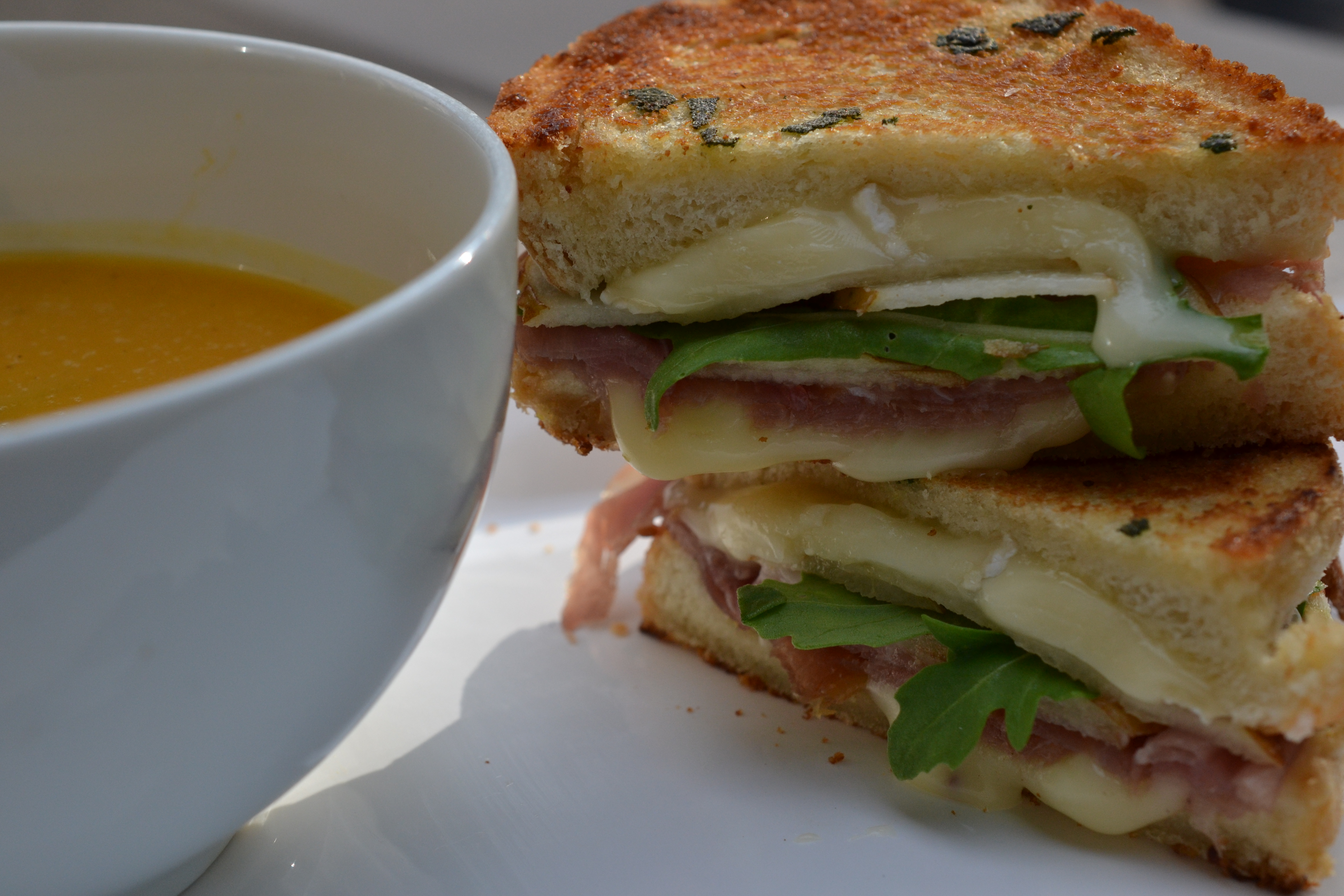 Grilled Pear, Brie And Prosciutto Sandwich Shredded Sprout